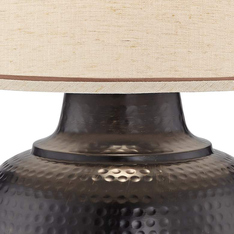 Brighton Hammered Pot Bronze Table Lamp with Table Top Dimmer more views