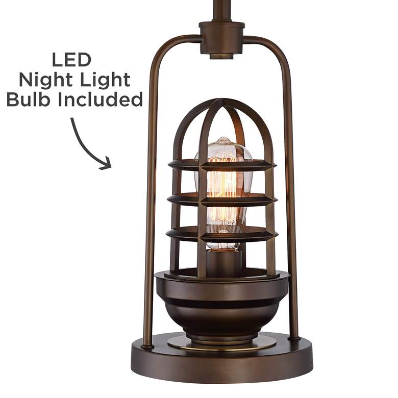 Hobie Bronze Nightlight Cage Table Lamp with Table Top Dimmer more views