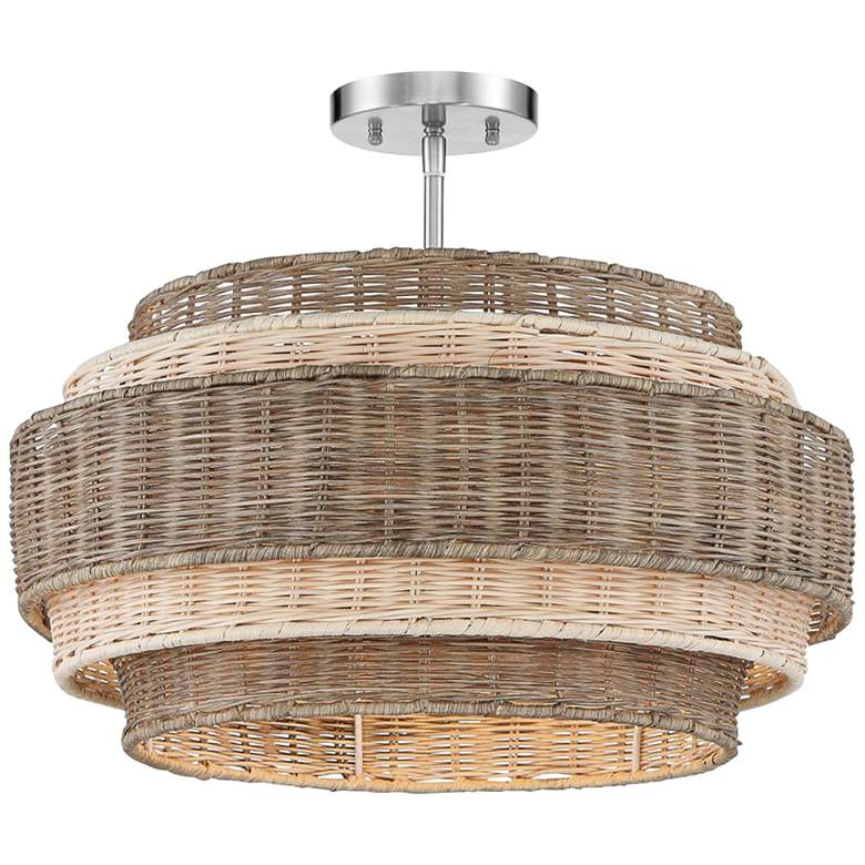 "Montauck Bay 20""W Nickel and Rattan 4-Light Pendant Light more views"