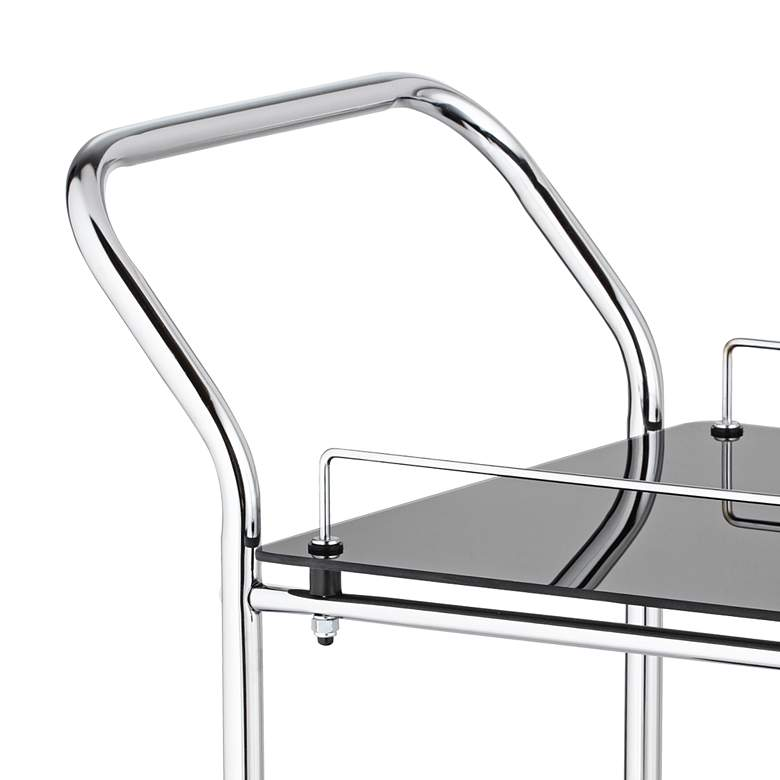 "Finn 28 1/2"" Wide Black Glass - Chrome Rolling Serving Cart more views"