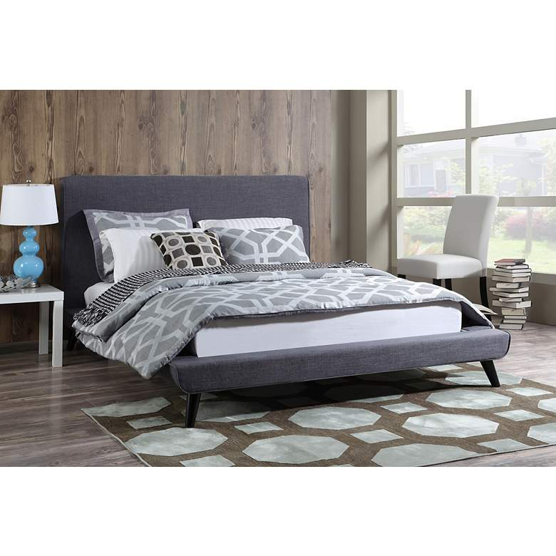 Nixon Gray Linen Queen Bed more views