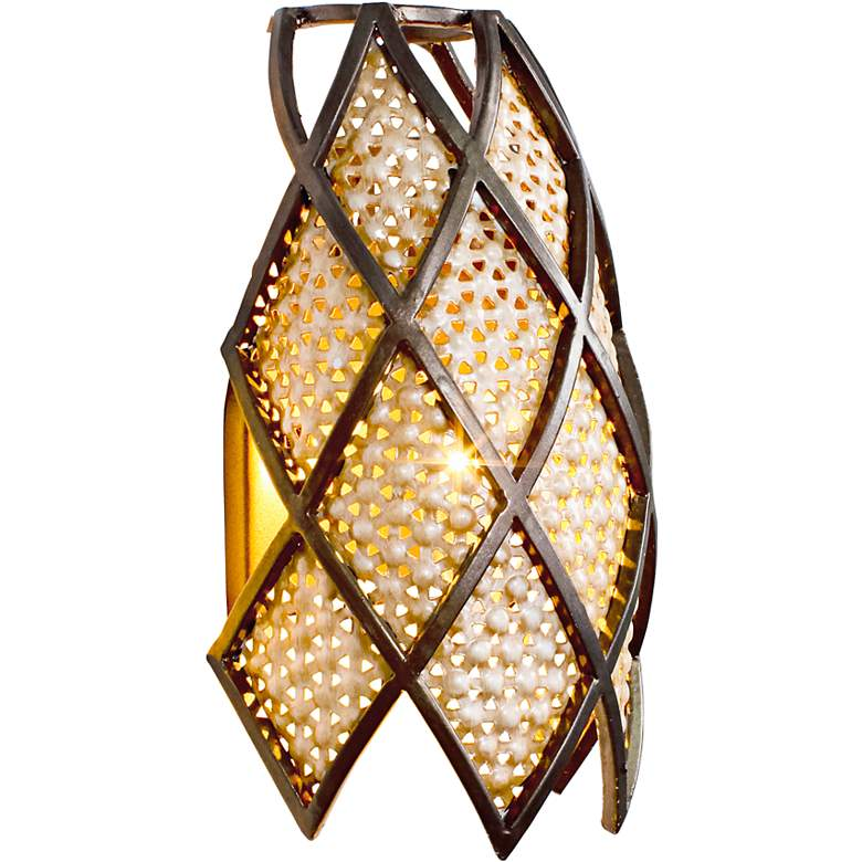 "Varaluz Argyle 10 3/4""H Silver Frit Glass Wall Sconce more views"