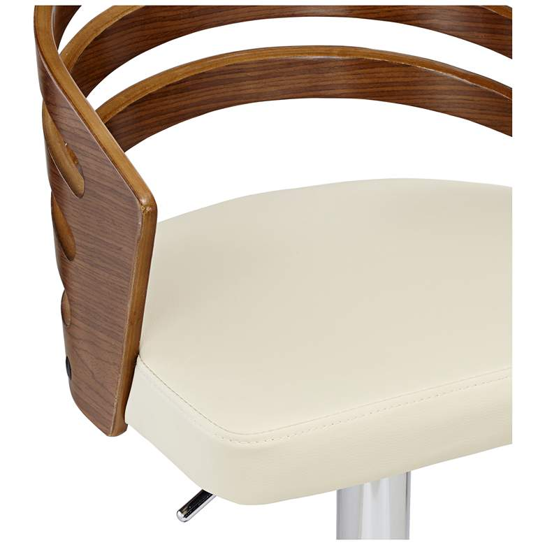 Adele Cream Faux Leather Adjustable Swivel Modern Bar Stool more views