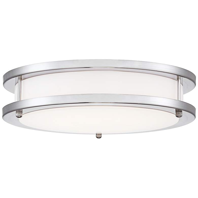 "Leeds Satin Nickel 12"" Wide LED Ceiling Light more views"