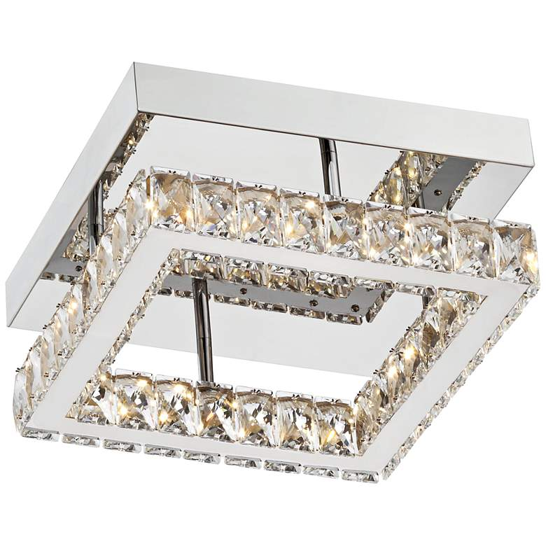 "Patricia Crystal Square 12"" Wide Chrome LED Ceiling Light more views"