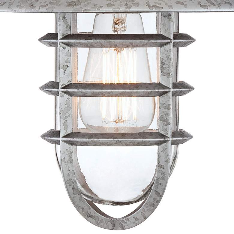"Marlowe 13 1/4""H Galvanized Hooded Cage Outdoor Wall Light more views"