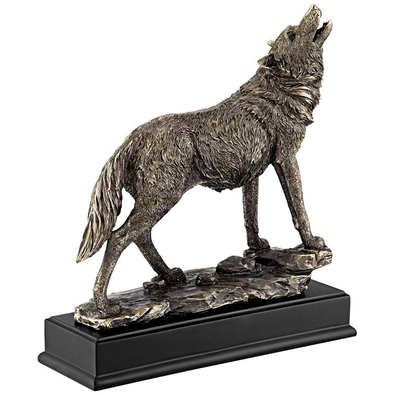 "Howling Wolf 13"" High Bronze Statue more views"