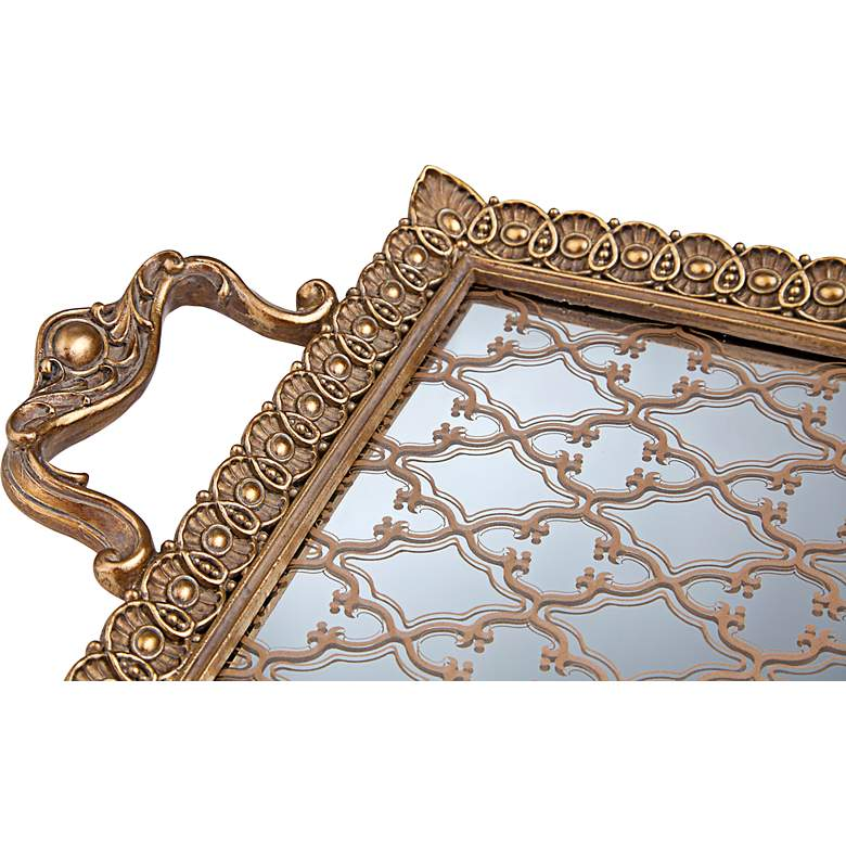 "Celina 15 3/4"" Wide Antique Gold and Mirror Rectangular Tray more views"