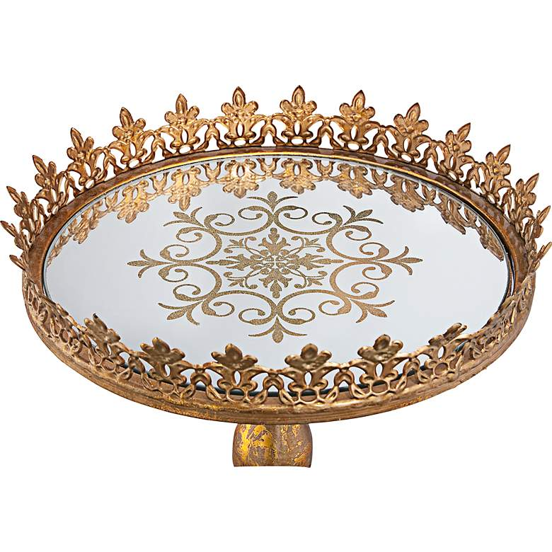 "Fleur-de-Lis Bronze Gold 13"" Round Decorative Cake Stand more views"