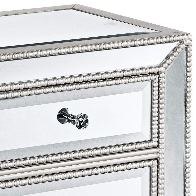 "Trevi 20"" Wide 3-Drawer Silver Mirrored Accent Table more views"