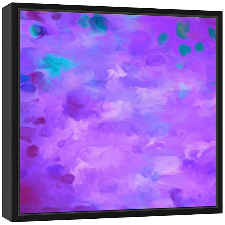 "Purple Dots I 21 3/4"" Square Framed Canvas Wall Art more views"
