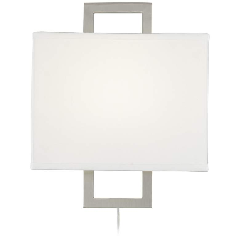 Aundria Rectangular Brushed Nickel Plug-In Wall Lamp more views