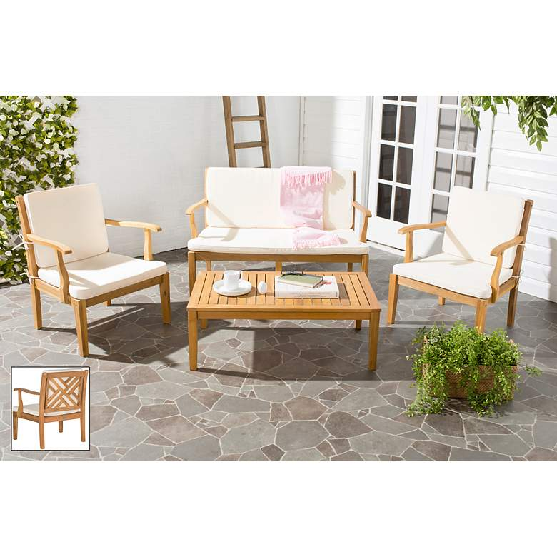 Bradbury Brown and Ivory 4-Piece Outdoor Conversation Set more views