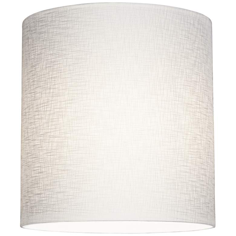 White Tall Linen Drum Shade 14x14x15 (Spider) more views