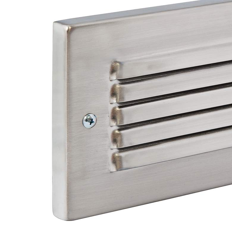 Horizontal Brushed Nickel Louvered LED Step Light more views
