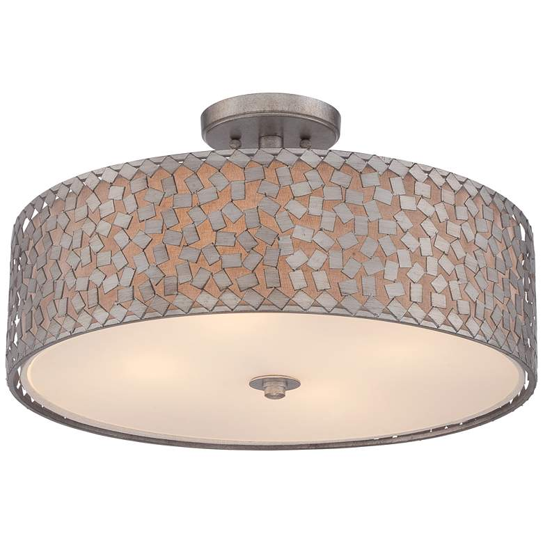 "Quoizel Confetti 20"" Wide Old Silver Ceiling Light more views"