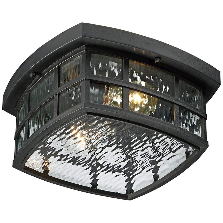 "Stonington 12"" Wide Mystic Black Outdoor Ceiling Light more views"