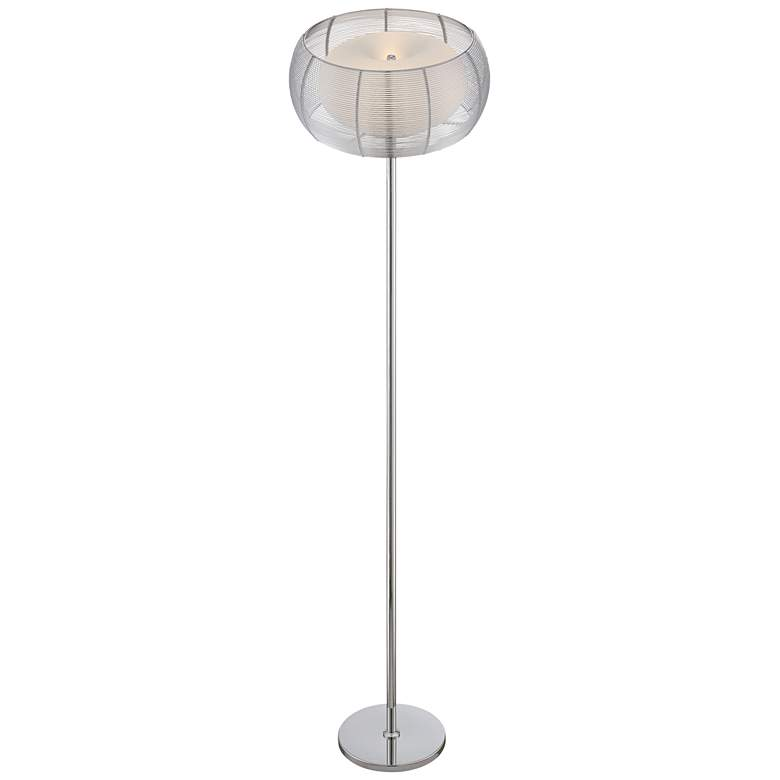 "Lite Source Lanelle 62 1/4"" High Chrome Metal Floor Lamp more views"