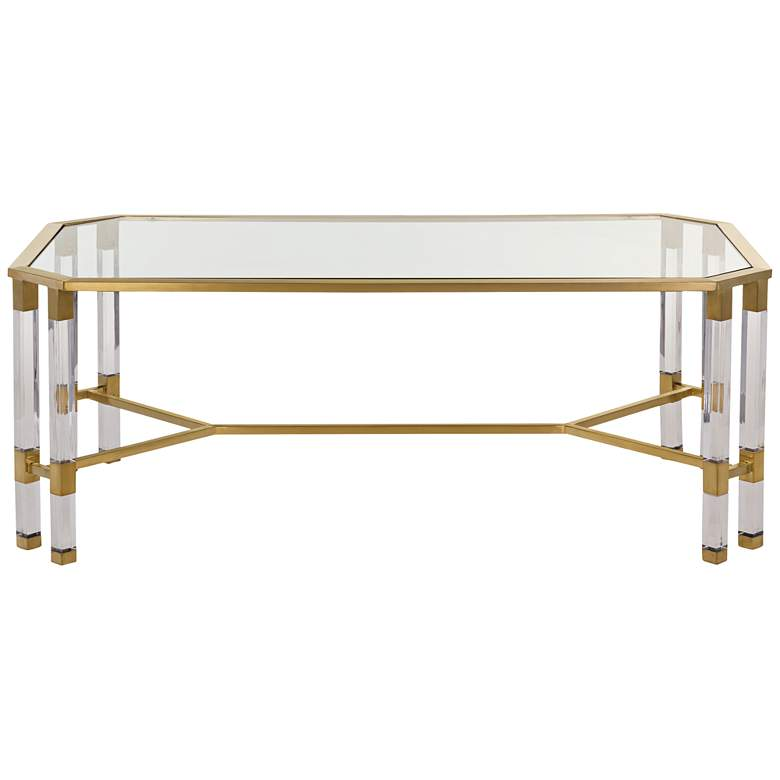 "Chandon 48"" Wide Clear Glass Luxe Coffee Table more views"