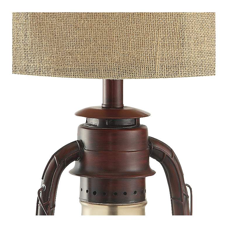 Lampa Plus: Crestview Rustic Red Lantern Table Lamp With Nightlight