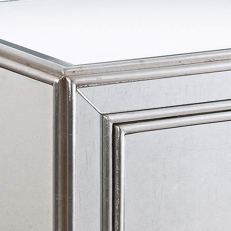 "Aneta 22"" Wide Mirrored and Silver Leaf Accent Table more views"