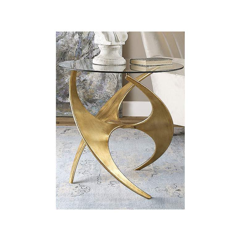 "Graciano 28"" Wide Gold and Round Glass Modern Accent Table more views"