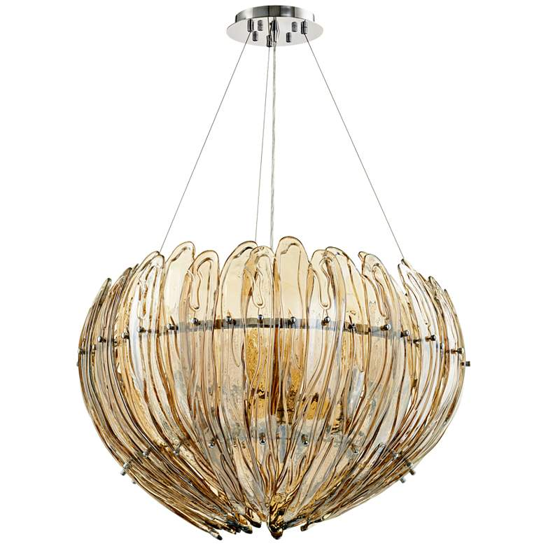 "Aerie 28"" Wide Large Lotus Cognac Glass Pendant Light more views"