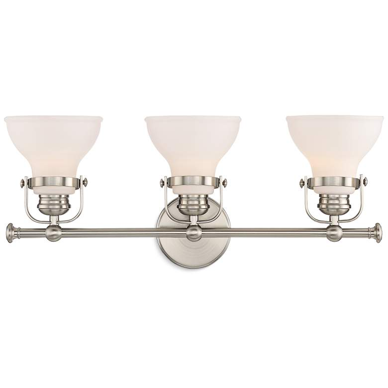 "Possini Euro Olsen 24"" Wide Satin Nickel 3-Light Bath Light more views"