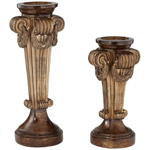 Grenada Brown Wood 2-Piece Candle Holders Set