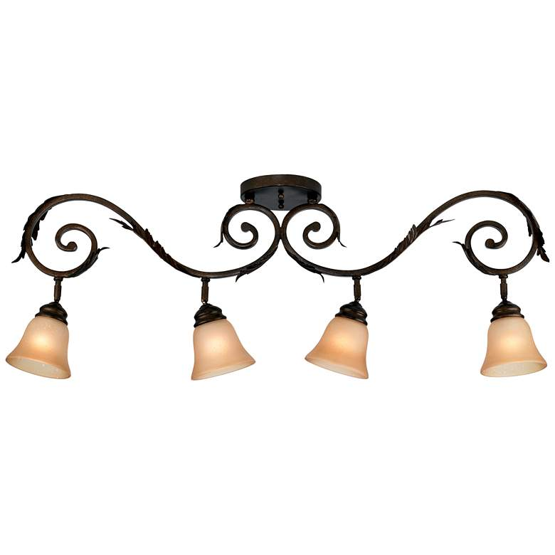 Pro Track® Bronze Scroll 4-Light Amber Glass Track Fixture more views