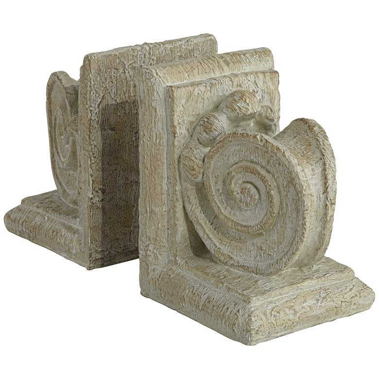 "Ammonite Swirls 6 3/4"" High Matte Wood Finish 2-Piece Bookends Set more views"