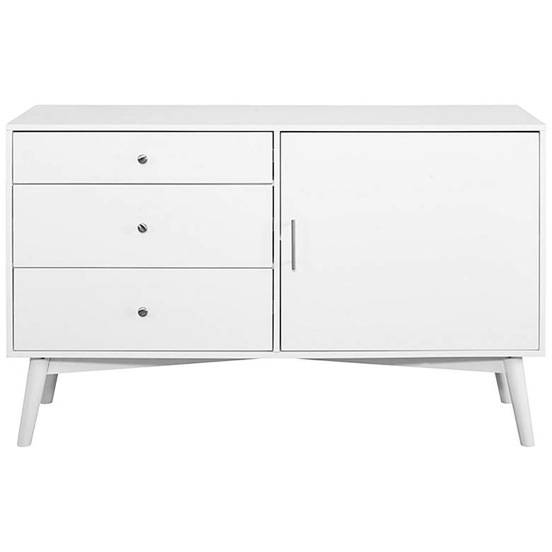 "angelo:HOME 52"" Wide White 3-Drawer Wood TV Stand more views"