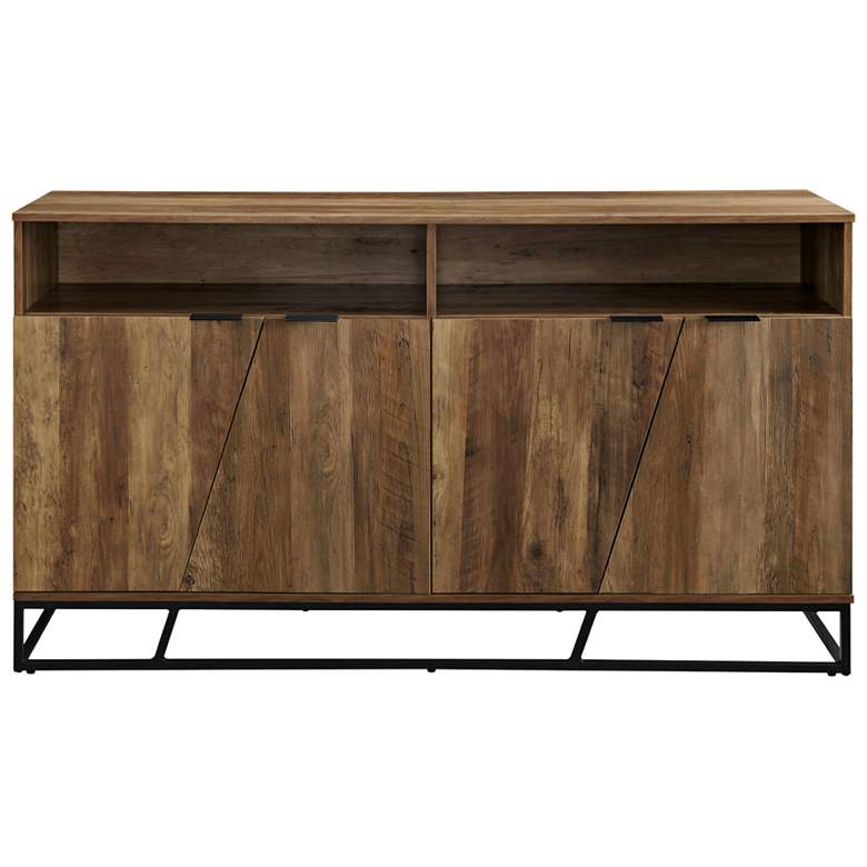"Norton 58"" Wide Reclaimed Barnwood 4-Angled Door Sideboard more views"