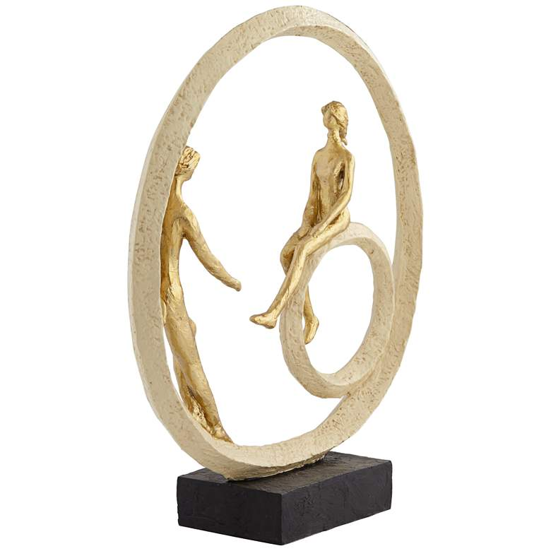 "Couple in Circle 16"" High Rough Gold Sculpture more views"