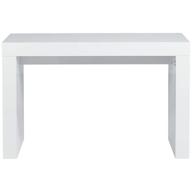 "Dorian 47"" Wide White Lacquer Rectangular Sofa Console Table more views"