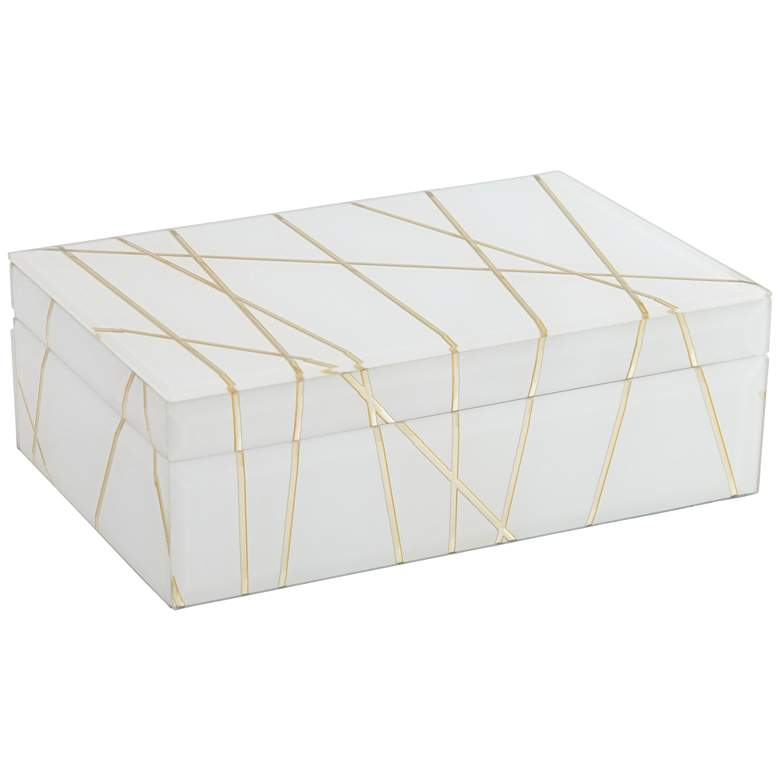 """Mocary 8 3/4"""" Wide Glossy White and Gold Stripe Jewelry Box more views"""