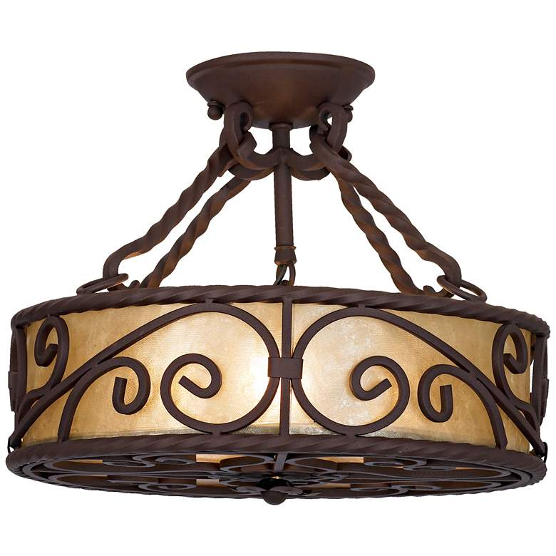 "Natural Mica Collection 15"" Wide Iron Ceiling Light Fixture more views"