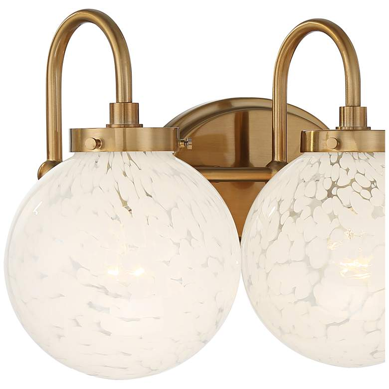 "Possini Euro Candida 24"" Wide Warm Gold and Glass 3-Light Bath Light more views"