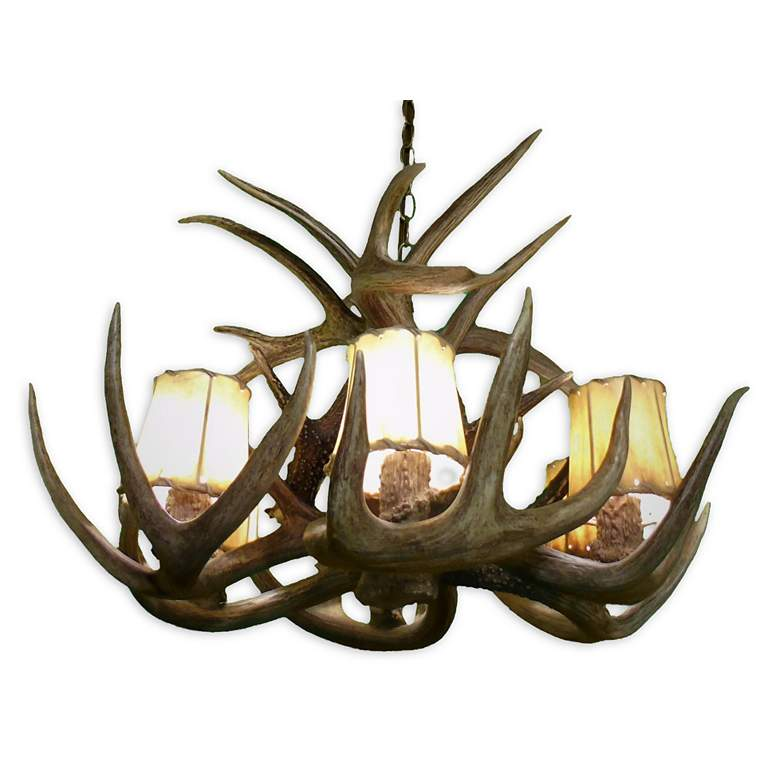 "Real Antler 24"" Wide Natural Brown 6-Light Chandelier more views"