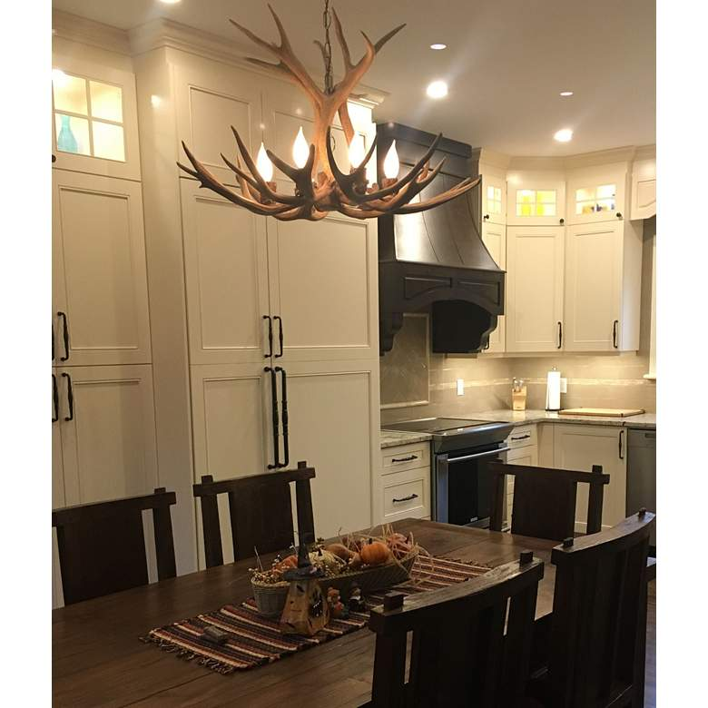 "Real Antler 29"" Wide Natural Brown 6-Light Chandelier more views"