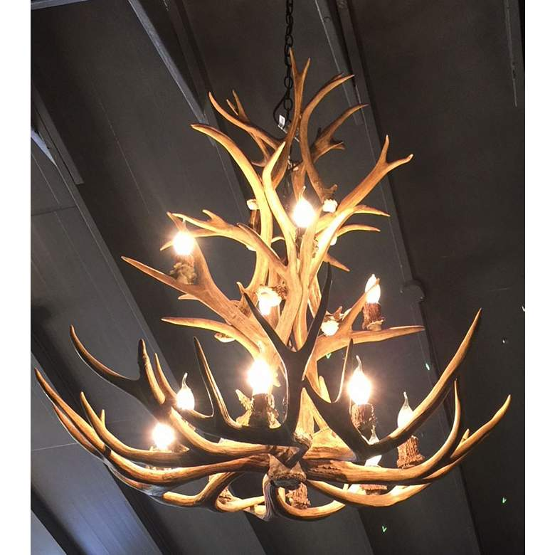 "Reproduction Antler 29""W Natural Brown 9-Light Chandelier more views"