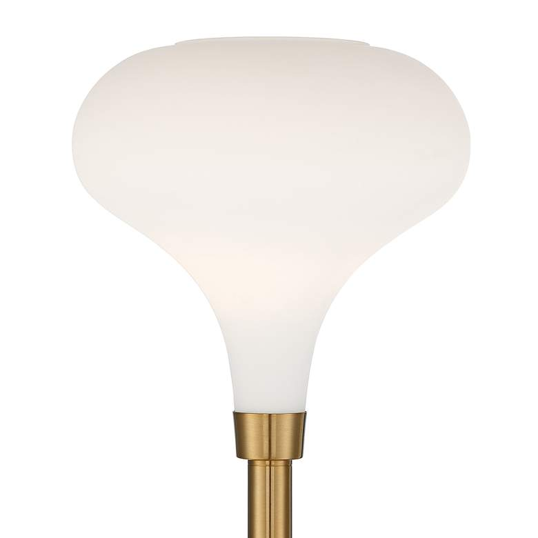Possini Euro Cecil Warm Brass and Opal Glass Torchiere Floor Lamp more views