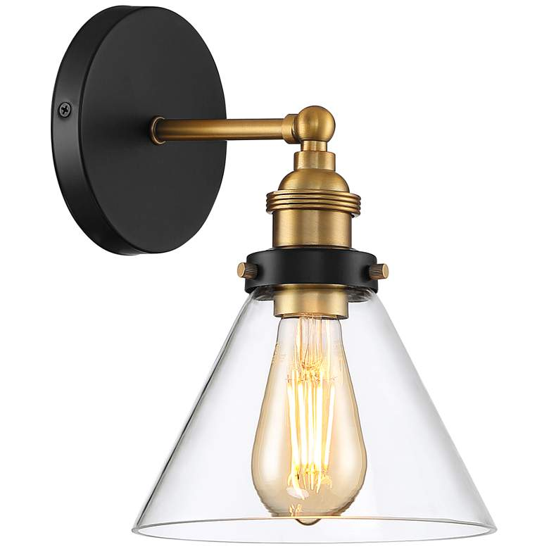 "Burke 10 3/4"" High Black and Brass LED Wall Sconce more views"