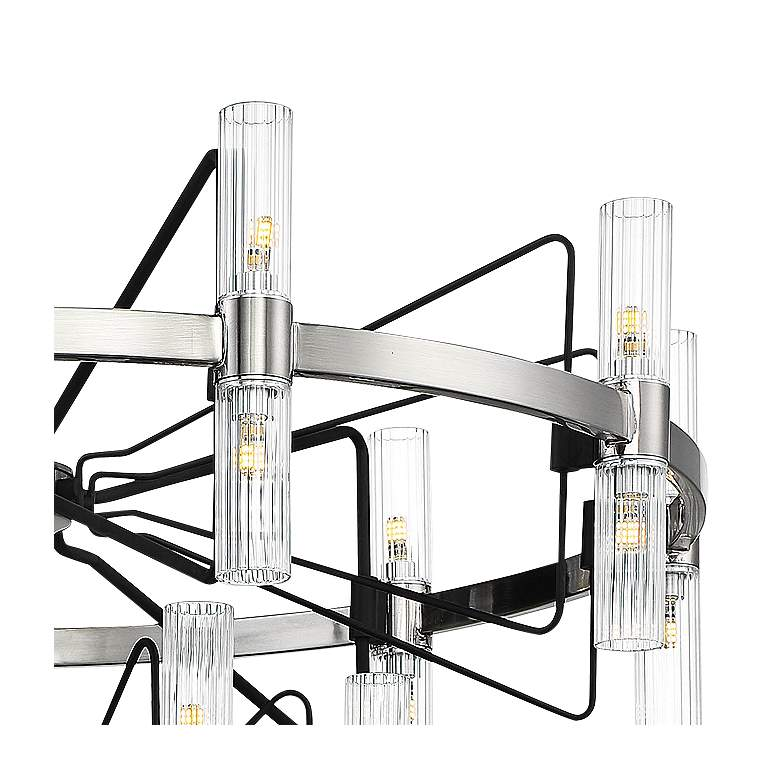 "Mass Transit 35""W Brushed Nickel 30-Light 2-Tier Chandelier more views"
