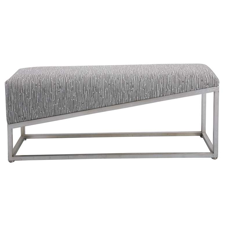 Uttermost Uphill Climb Medium Gray and White Accent Bench more views