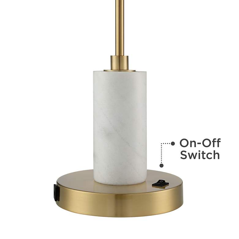 Vaile Modern Marble and Glass USB Desk Lamp by Possini Euro Design more views