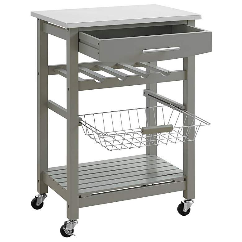 "Zoey 22 3/4"" Wide Gray Wood and Granite Kitchen Cart more views"