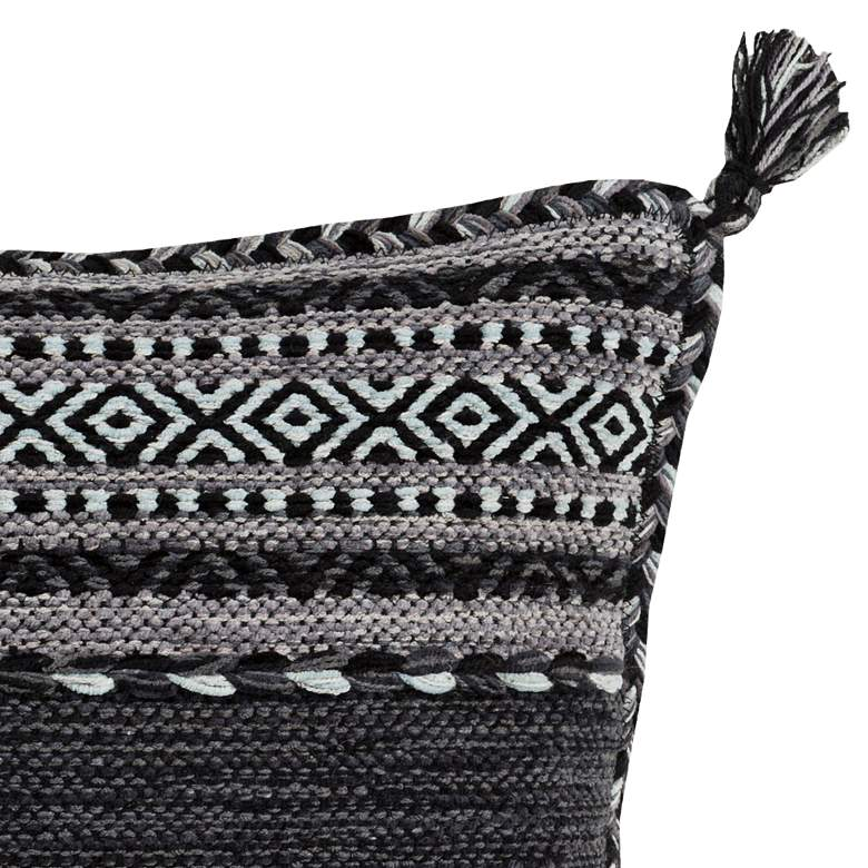 "Surya Trenza Light Gray Black 20"" Square Decorative Pillow more views"