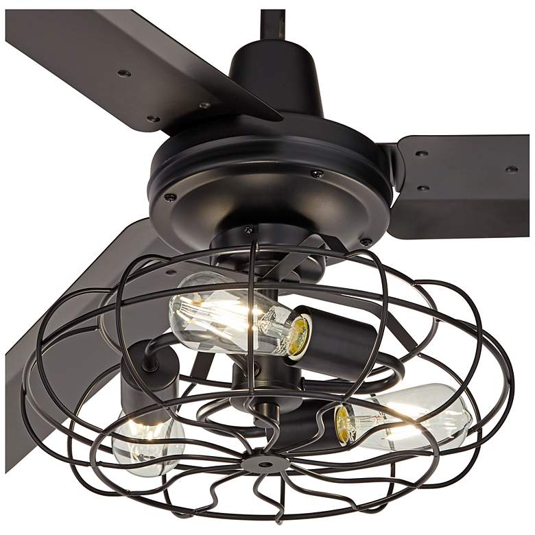 "60"" Turbina Matte Black Ceiling Fan with Caged 3-Light LED Kit more views"
