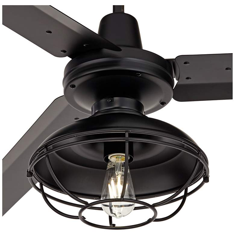 "60"" Turbina Matte Black Damp Ceiling Fan with Franklin Park LED Kit more views"